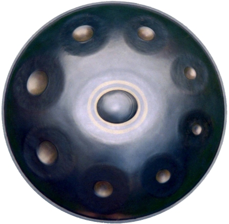 top down view of a circular handpan